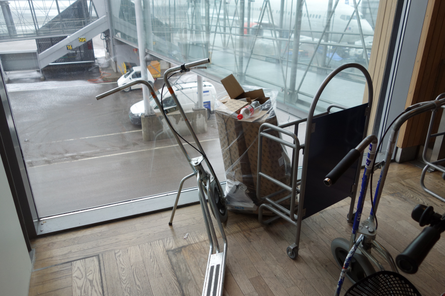 After a while, clutter is unnoticed – bags of rubbish and mobility scooters left in plain sight in the terminal.